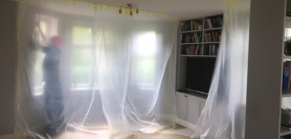 Skydda insidan vid fönsterbyte