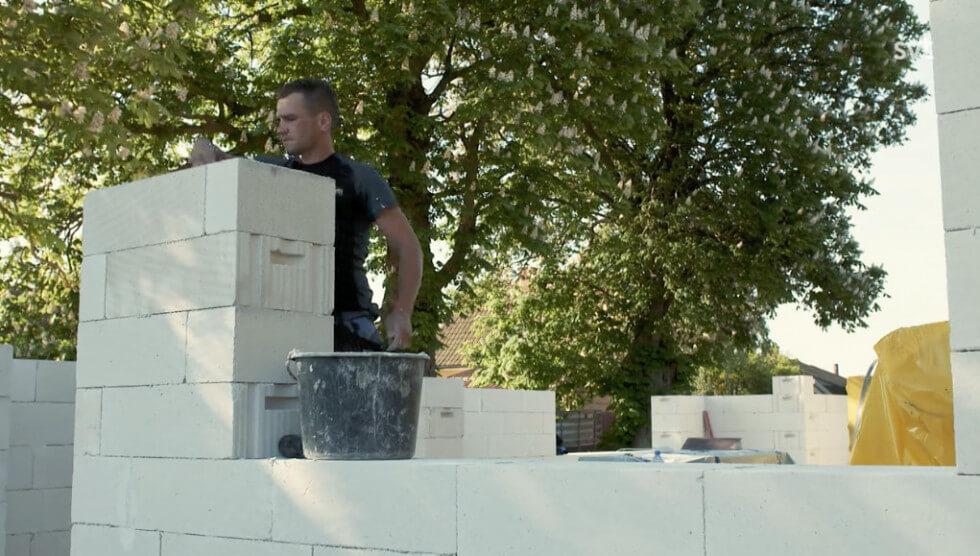 Tillbyggnaden i Hjärup byggs med lättbetongblock från Ytong