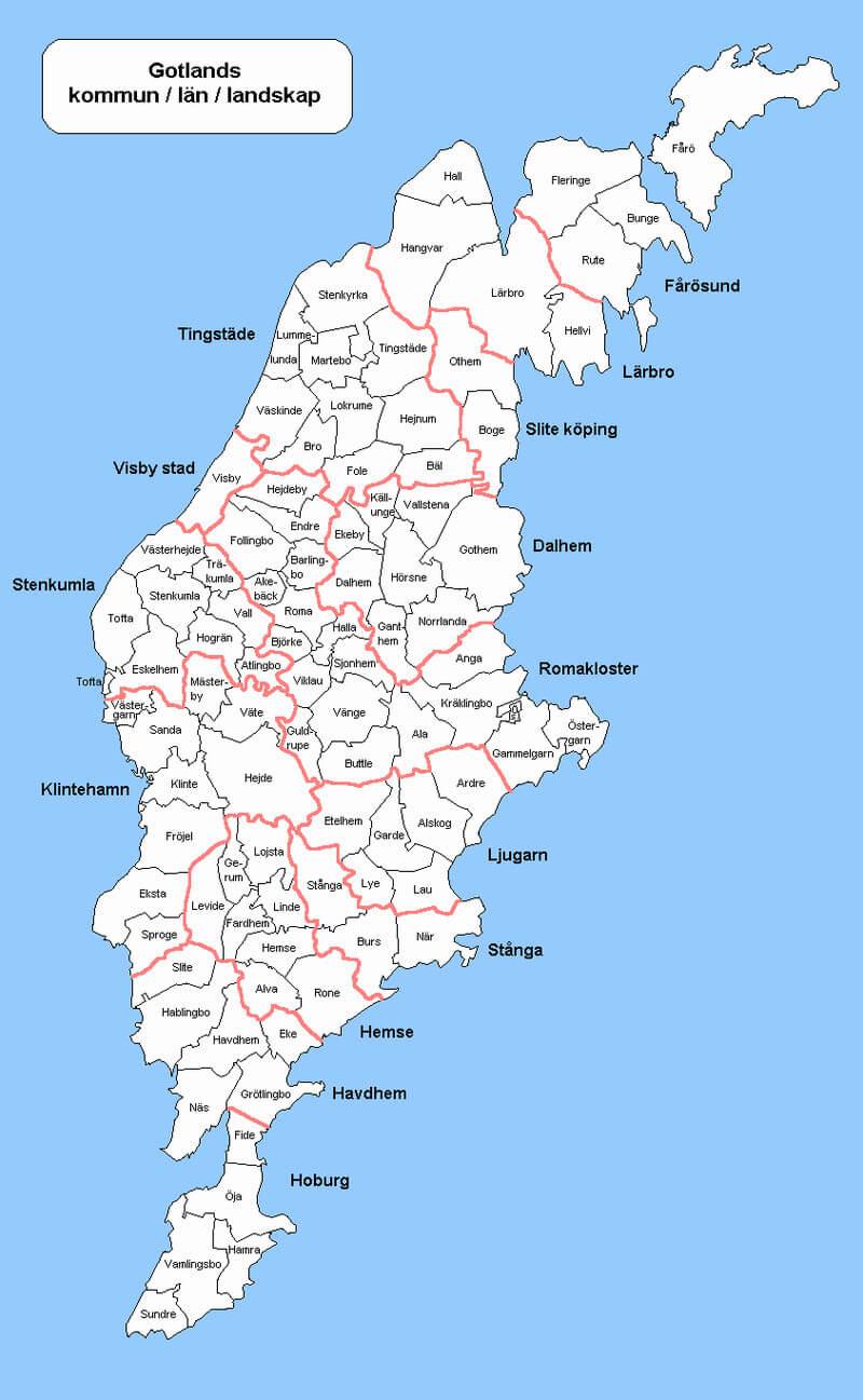 Karta över Gotland