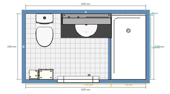 Planlösning litet badrum