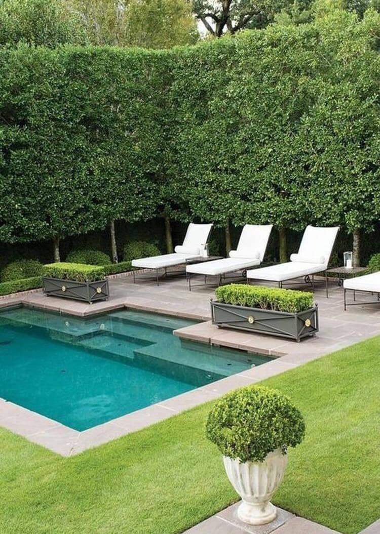 Gröna ytor vid pool