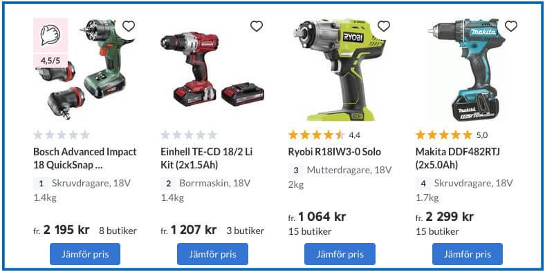 Jämföra priser på pricerunner