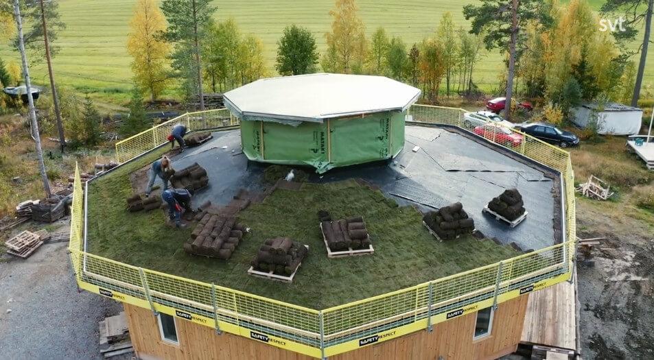 Rullar ut gräs på taket