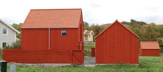 Rödmålad träfasad