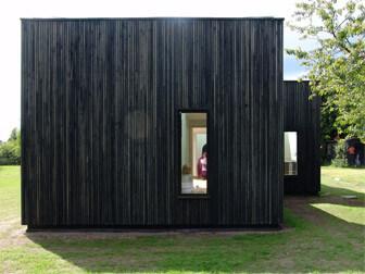 Fasad med stående träpanel