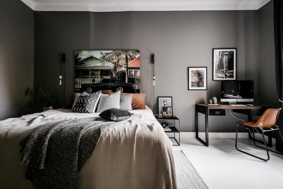 mörka väggar i sovrum