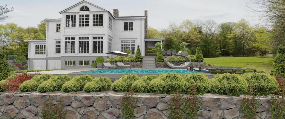 Stenmur vid New England hus