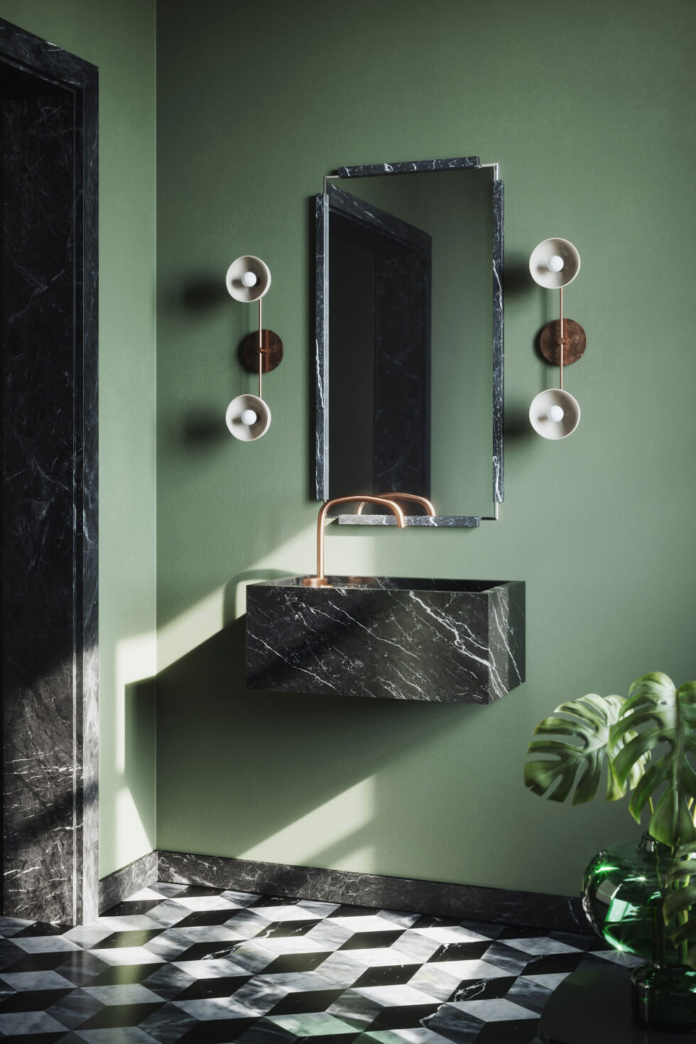 Grönmålat badrum