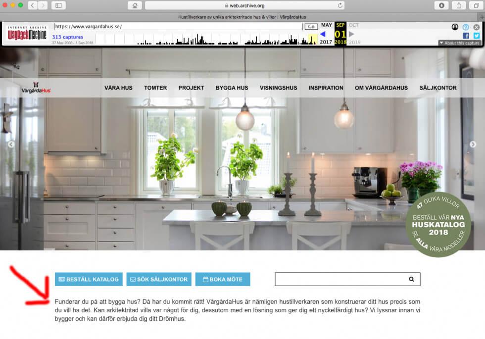 Skärmdump från Vårgårdahus hemsida
